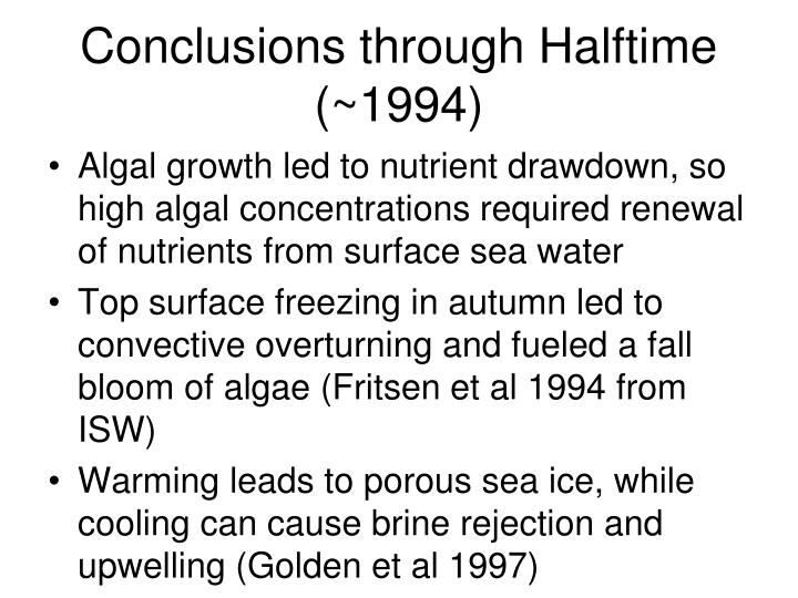 Conclusions through Halftime (~1994)