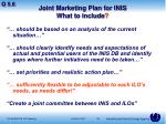 joint marketing plan for inis what to include