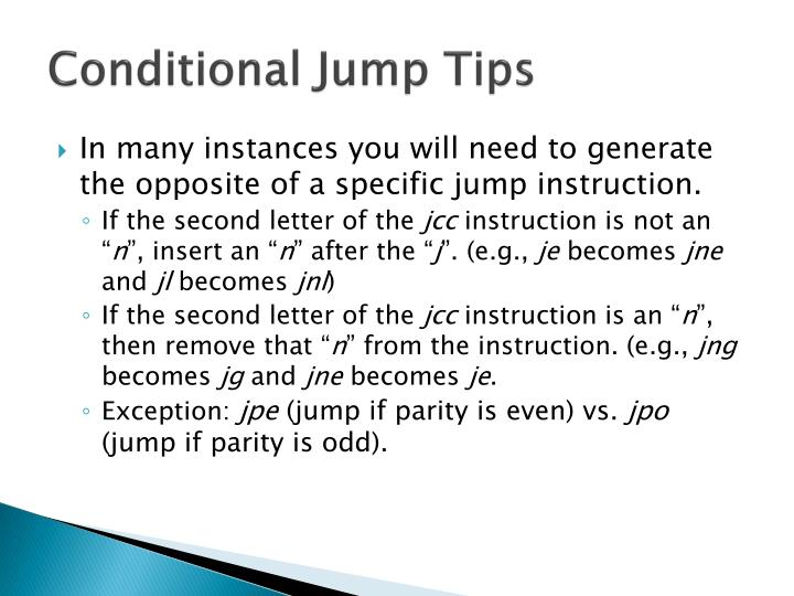 Conditional Jump Tips