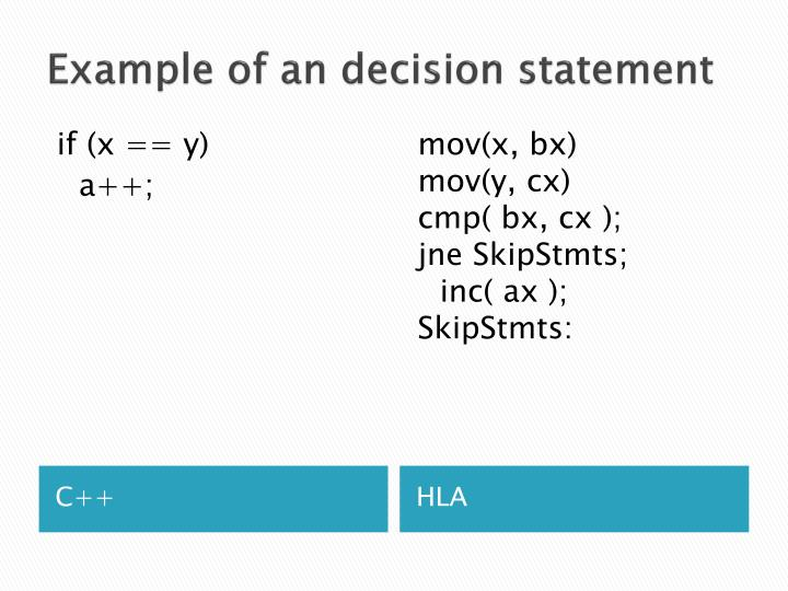 Example of an decision statement