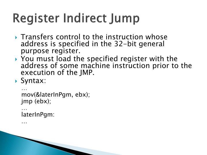 Register Indirect Jump