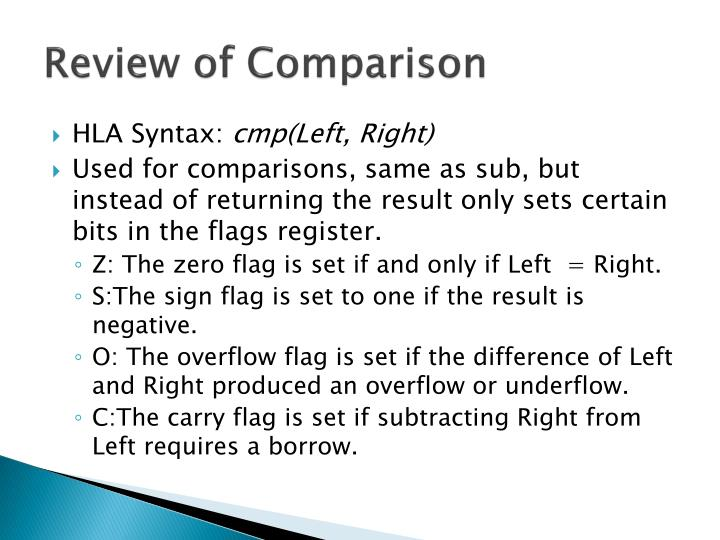 Review of comparison