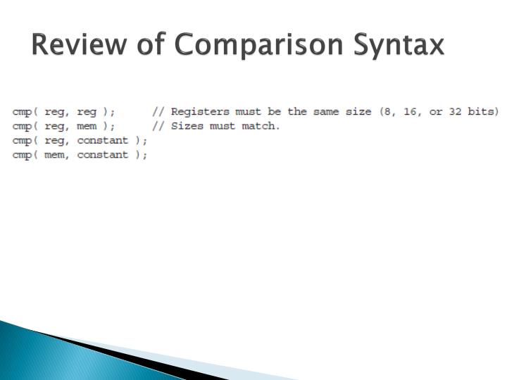 Review of Comparison Syntax