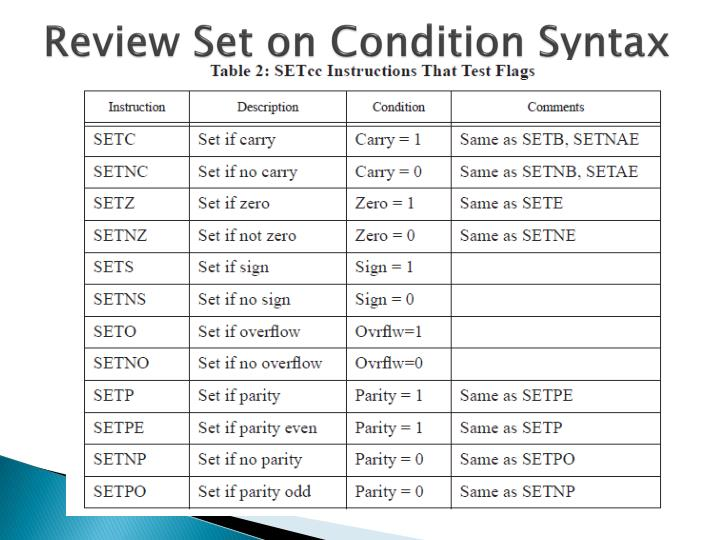 Review Set on Condition Syntax