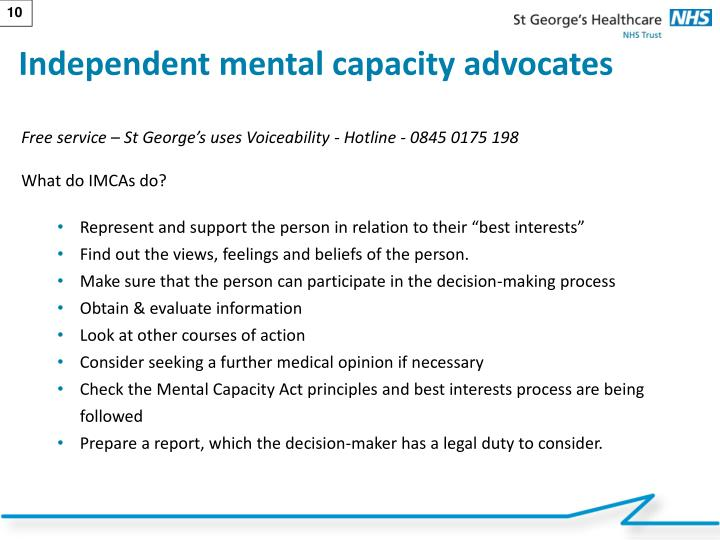 Independent mental capacity advocates