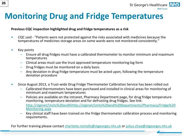 Monitoring Drug and Fridge Temperatures