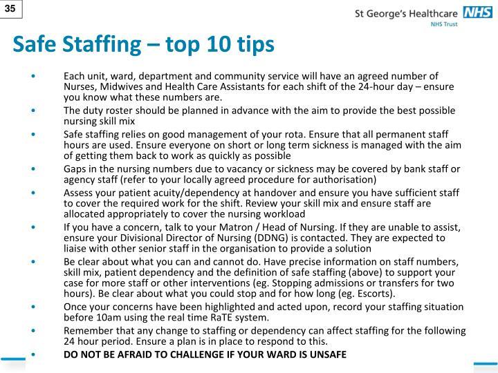 Safe Staffing – top 10 tips