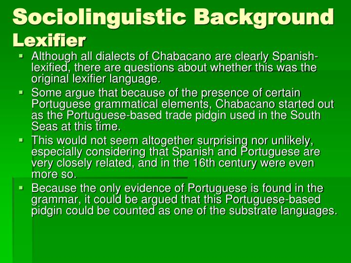 Sociolinguistic Background
