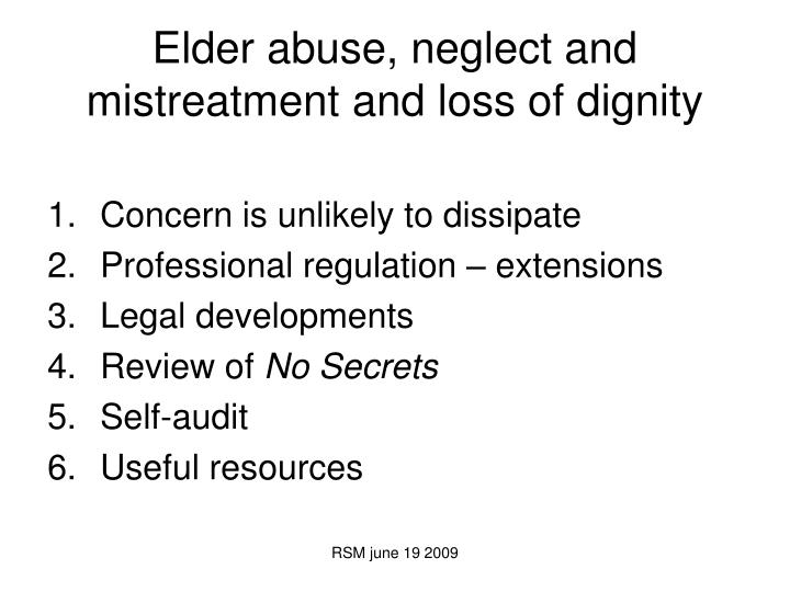 elder abuse and mistreatment essay
