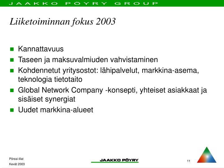 Liiketoiminnan fokus 2003