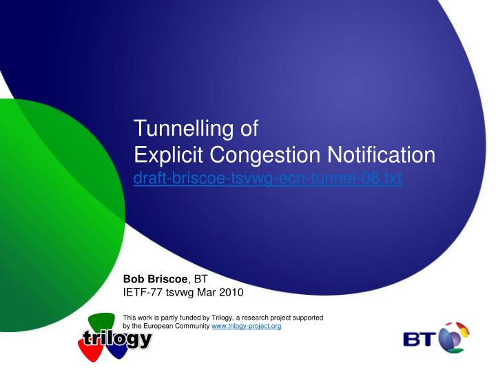 Tunnelling of explicit congestion notification draft briscoe tsvwg ecn tunnel 08 txt