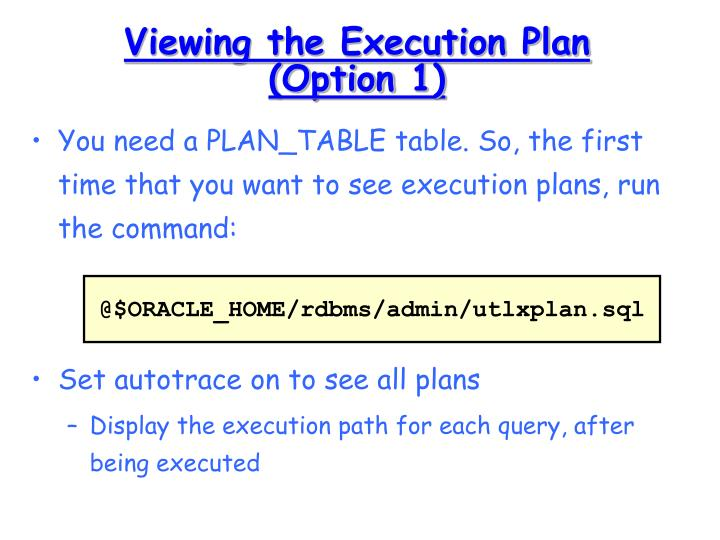 Viewing the Execution Plan