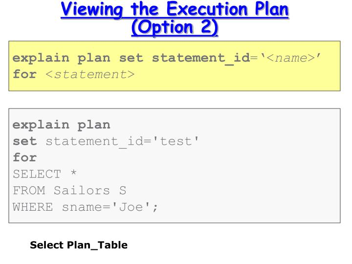 Viewing the Execution Plan (Option 2)