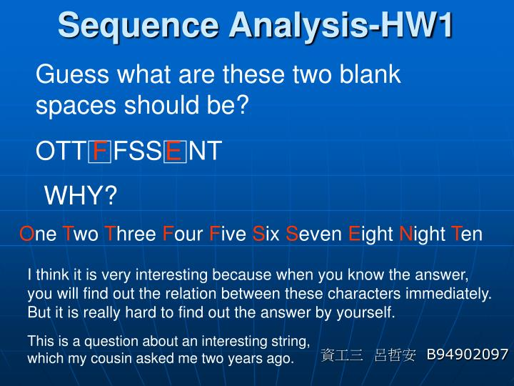 Sequence analysis hw1