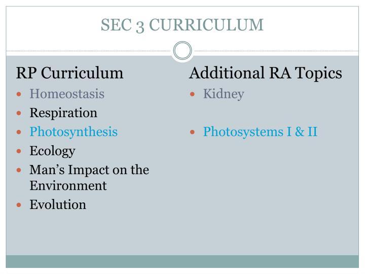 SEC 3 CURRICULUM