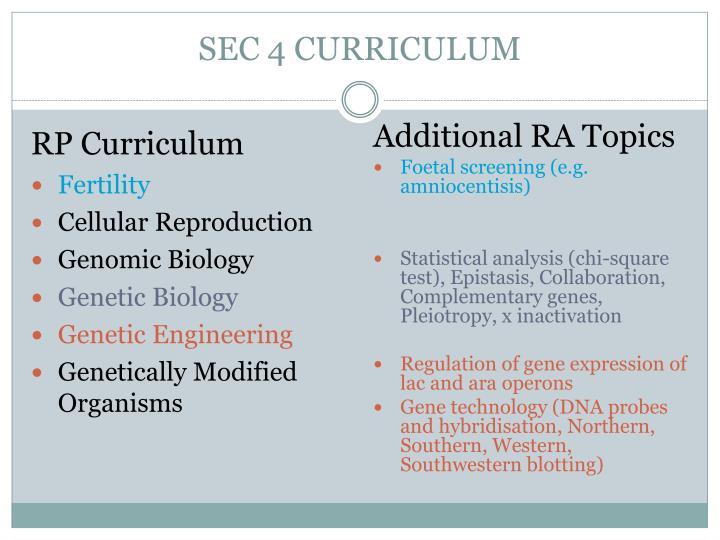 SEC 4 CURRICULUM