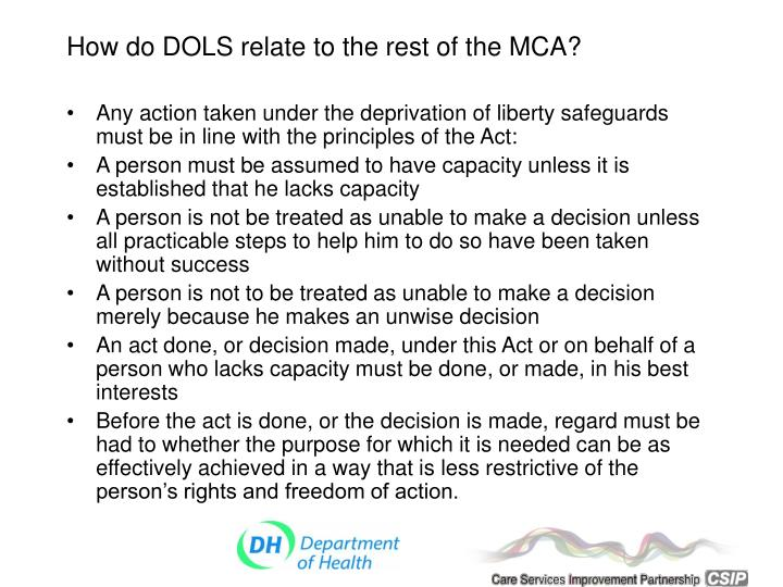 How do DOLS relate to the rest of the MCA?