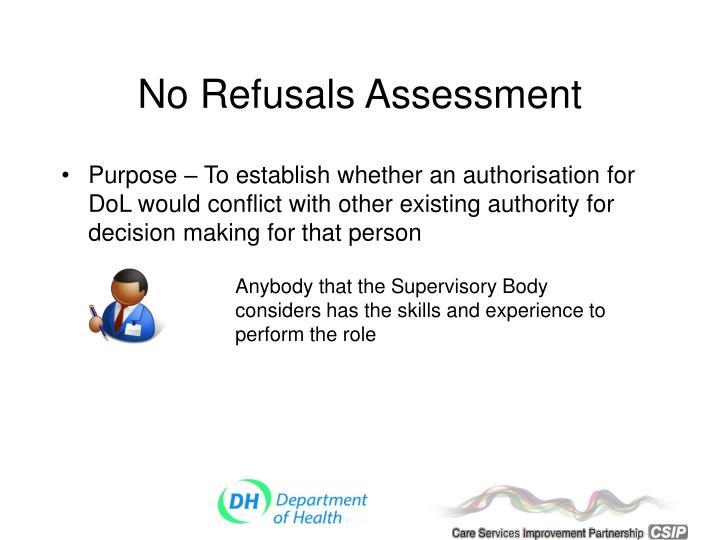 No Refusals Assessment