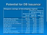 potential for db issuance