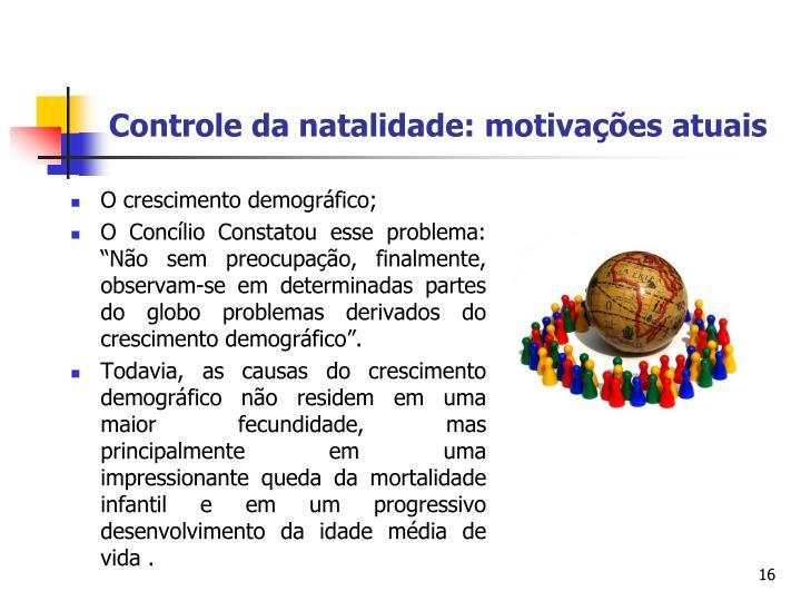 Controle da natalidade: motivações atuais