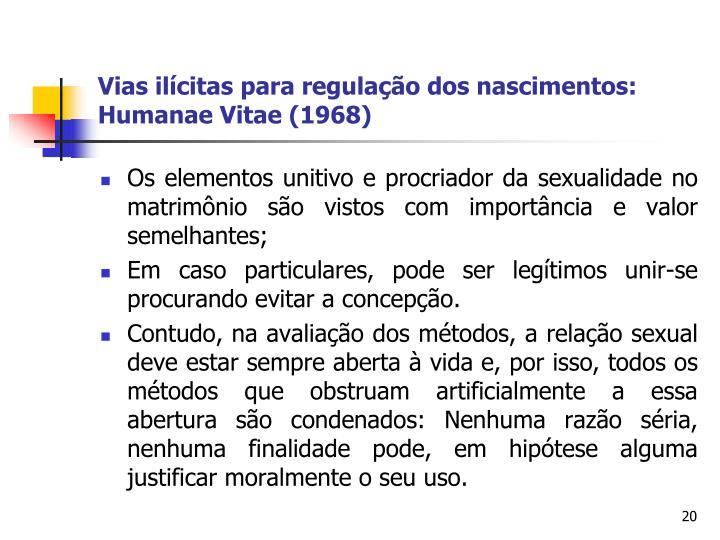 Vias ilícitas para regulação dos nascimentos: Humanae Vitae (1968)