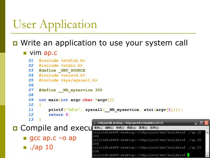 Write an application to use your system call