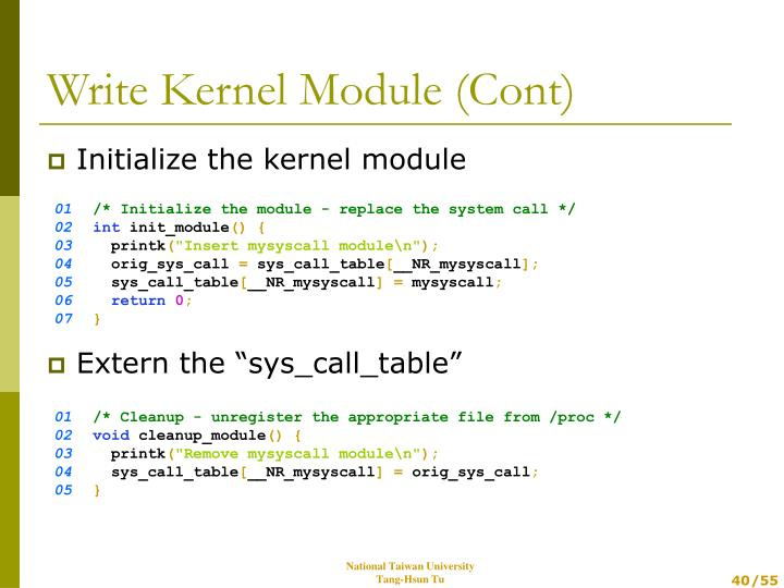 Initialize the kernel module