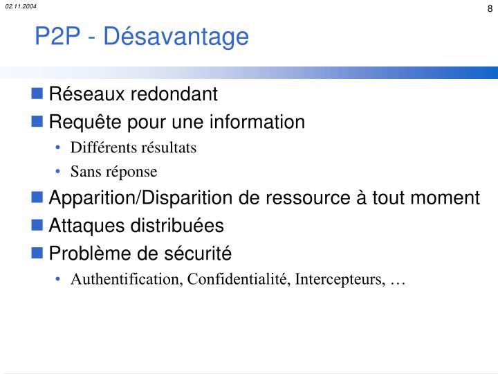 P2P - Désavantage