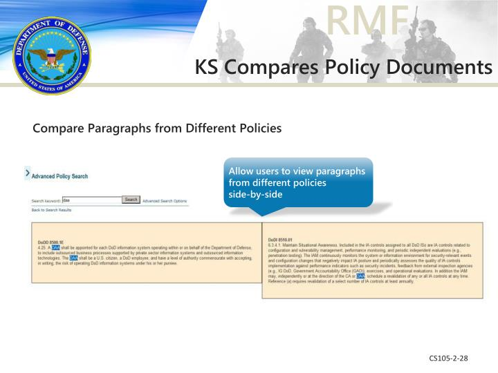 Compare Paragraphs from Different Policies