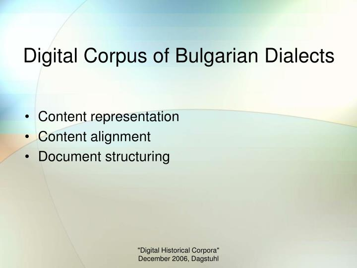 Digital Corpus of Bulgarian Dialects