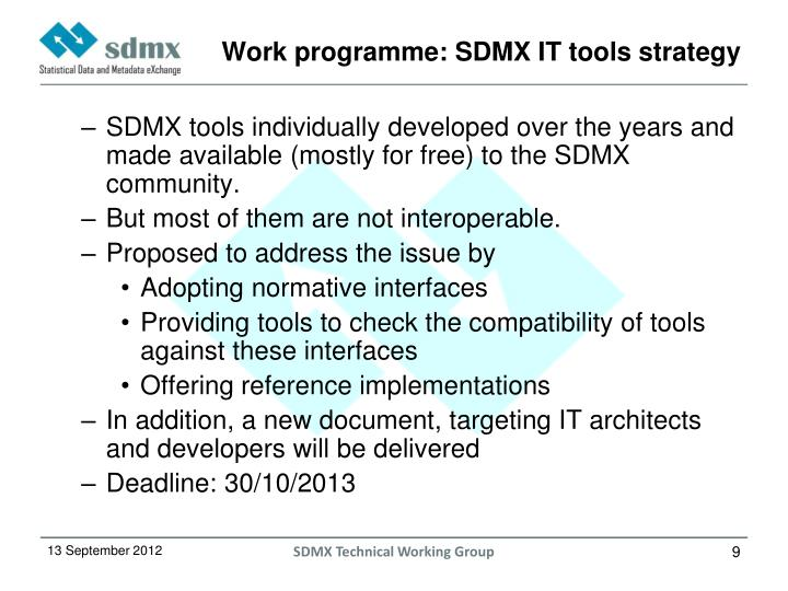 Work programme: SDMX IT tools strategy