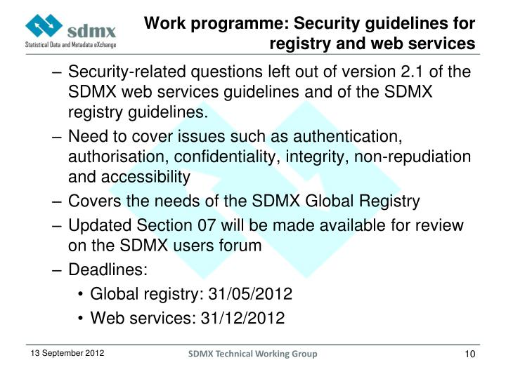 Work programme: Security guidelines for registry and web services
