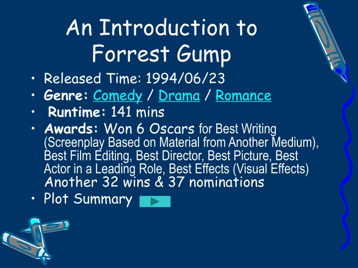 forrest gump film analysis essay Forrest gump is a simple man with a low iq but good intentions he is running through childhood with his best and only friend jenny his 'mama' teaches him.