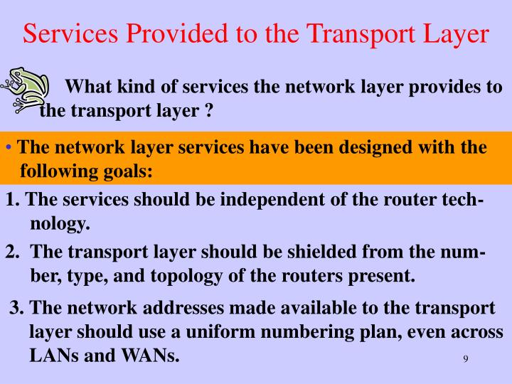 Services Provided to the Transport Layer