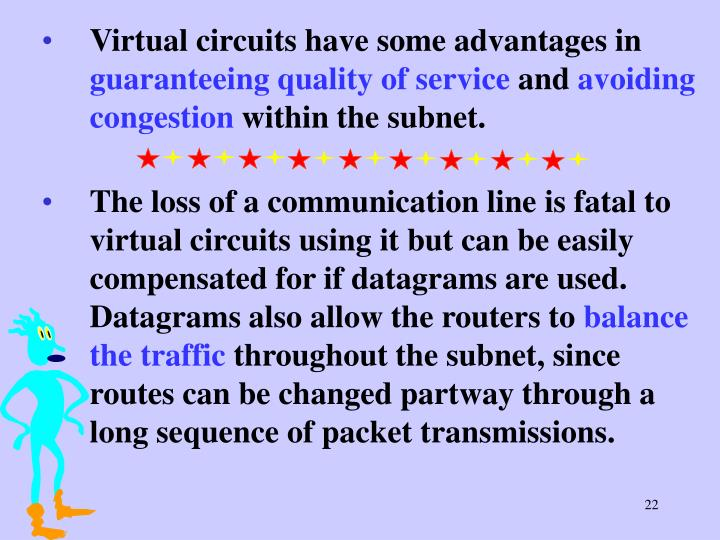 Virtual circuits have some advantages in