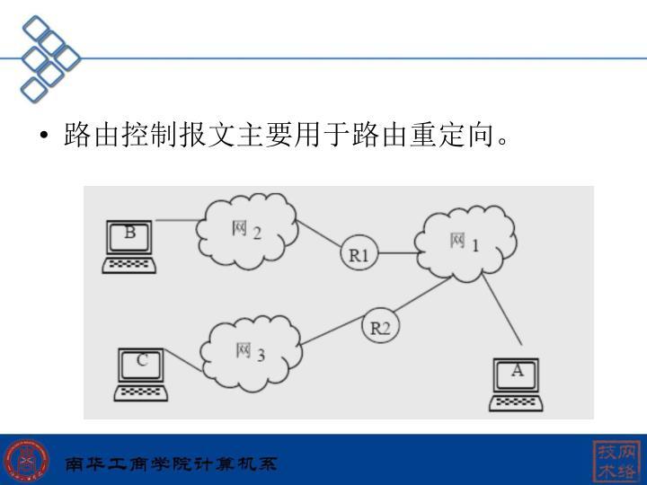 路由控制报文主要用于路由重定向。