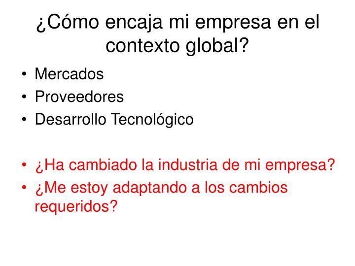 ¿Cómo encaja mi empresa en el contexto global?