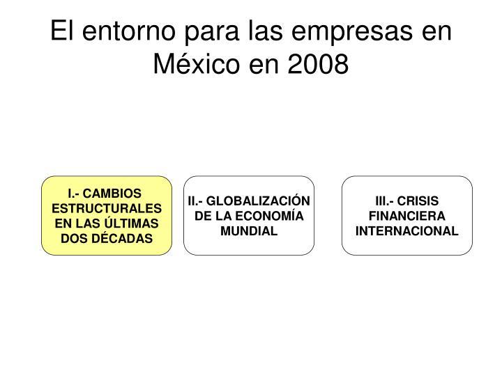 El entorno para las empresas en m xico en 2008