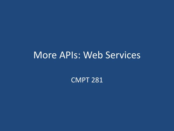 more apis web services n.