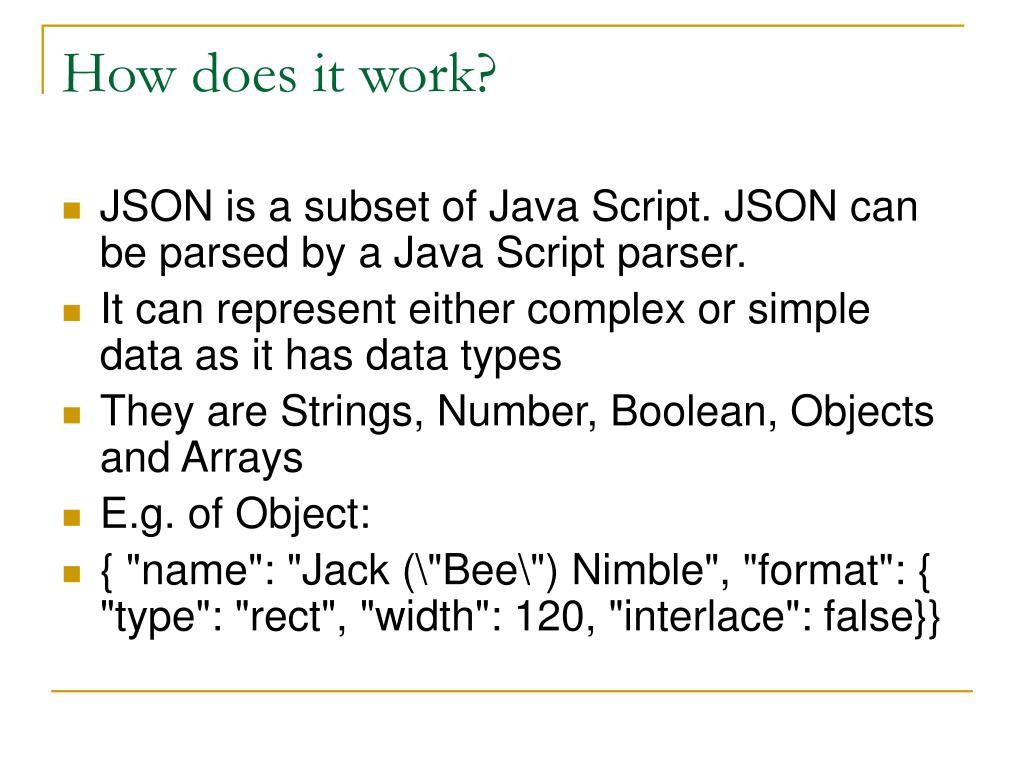 PPT - JSON – Java Script Object Notation PowerPoint Presentation