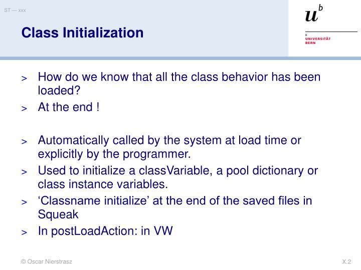 Class initialization