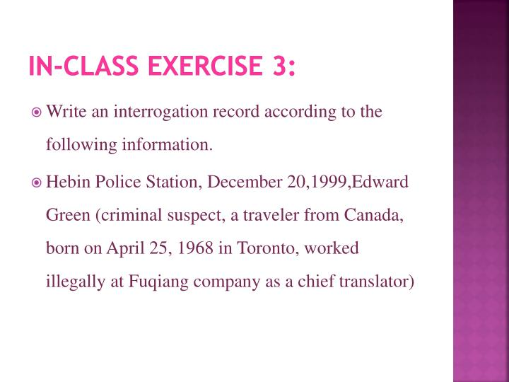 In-class exercise 3:
