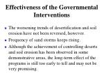 effectiveness of the governmental interventions