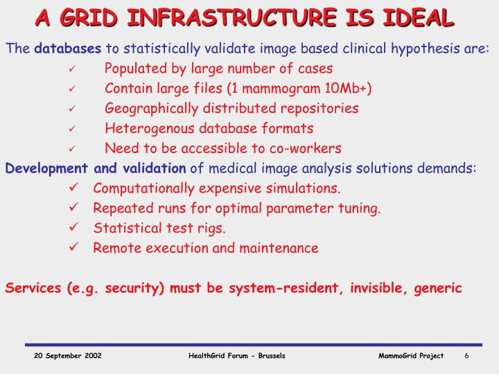 A GRID INFRASTRUCTURE IS IDEAL