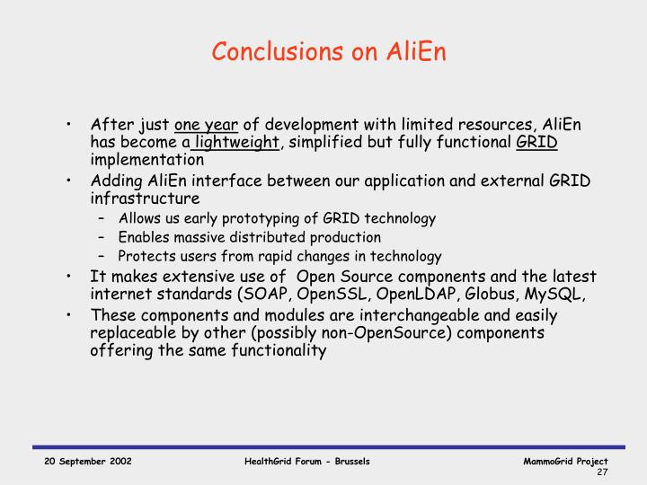 Conclusions on AliEn
