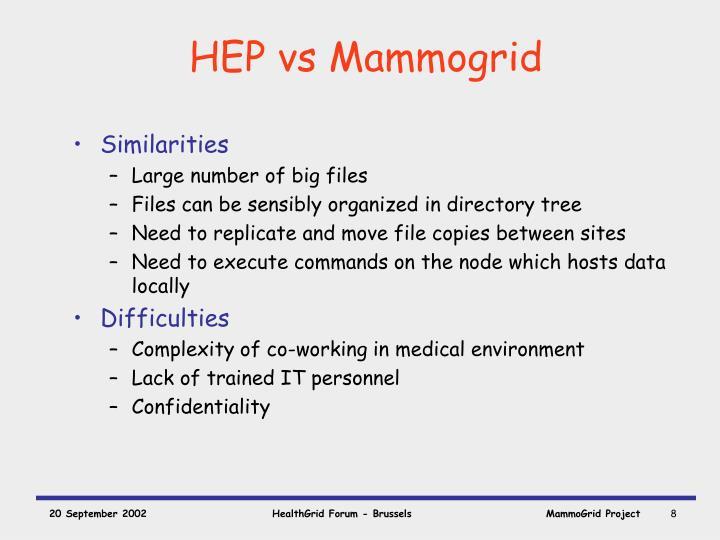 HEP vs Mammogrid