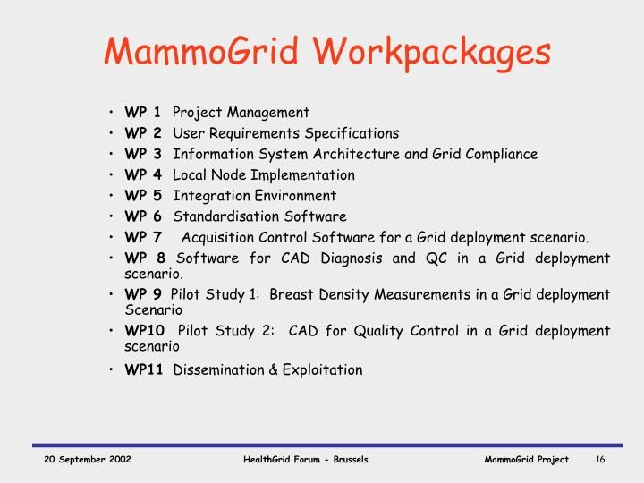MammoGrid Workpackages