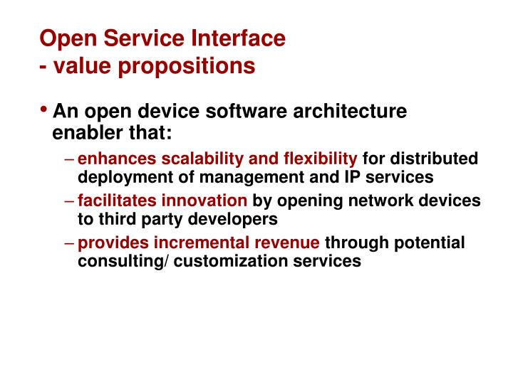 Open Service Interface