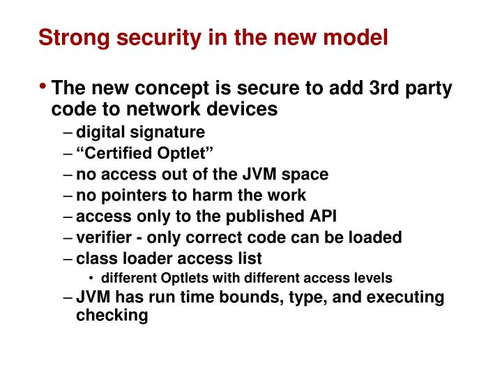 Strong security in the new model