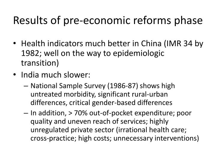 Results of pre-economic reforms phase